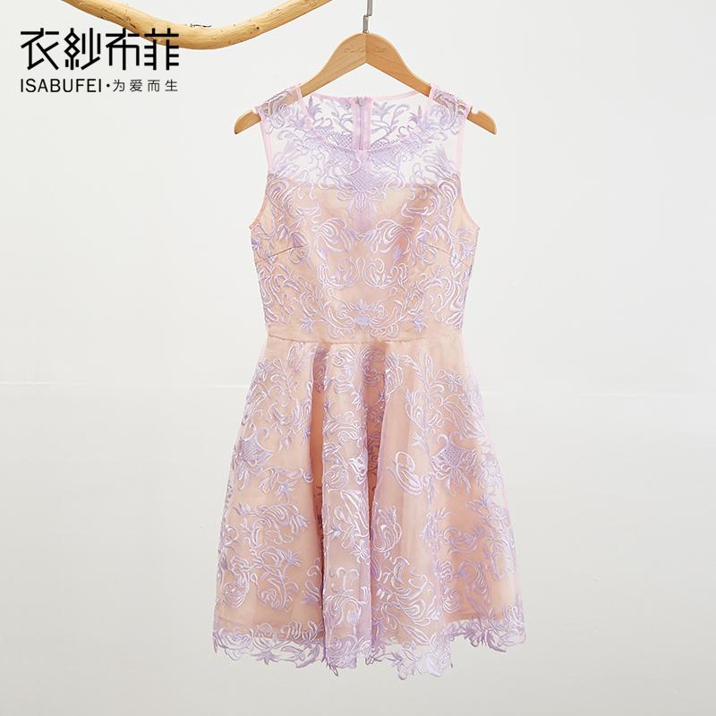 衣纱布菲梦旅 复古刺绣蕾丝绣花短款连衣裙轻盈显瘦聚会礼服预售