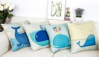 鲸鱼小蓝鲸 北欧宜家简约 森系棉麻抱枕 布艺沙发靠垫靠枕