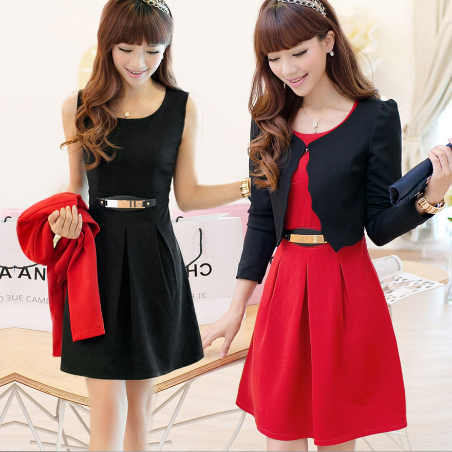 2015新款女装套装秋冬装韩版长袖连衣裙时尚背心裙子小外套两件套