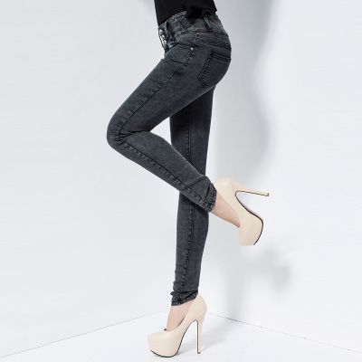 Moao 2014 Hitz waist jeans female Korean tidal significantly thin feet pencil pants stretch pants abdomen