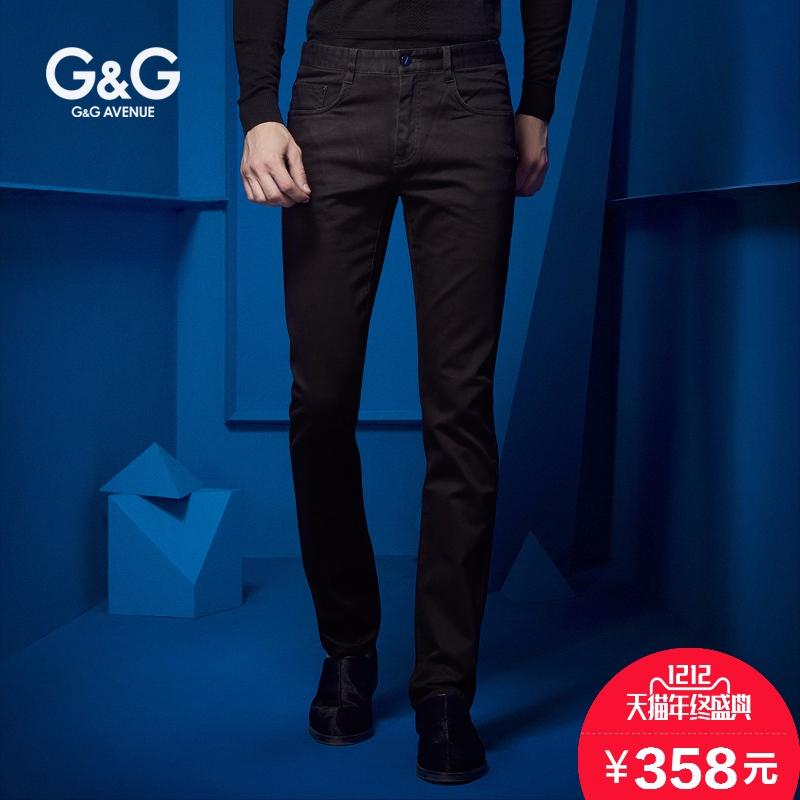 G&G秋冬款男士黑色牛仔裤男加绒修身型小脚裤青年冬季男裤裤子潮