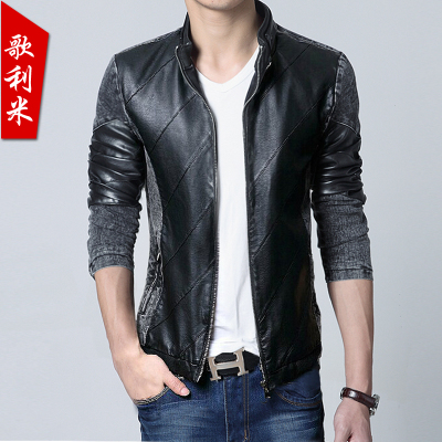 New men's autumn song Leamy big yards Korean Slim leather stitching denim trend of men's leather jacket coat