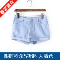 麦系列夏季新品促销女装简约休闲舒适弹力美腿短裤13292