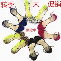2014新款夏季时尚甜美性感黑色高跟细跟女士凉鞋32-40大小码女鞋