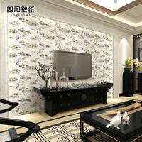 古典书房中式墙纸 无纺布中国风3D立体客厅电视背景墙壁纸 丹顶鹤