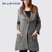 蓝狐欧美大码女装皮草毛领加厚大衣时尚毛织衫外套中长款毛衣