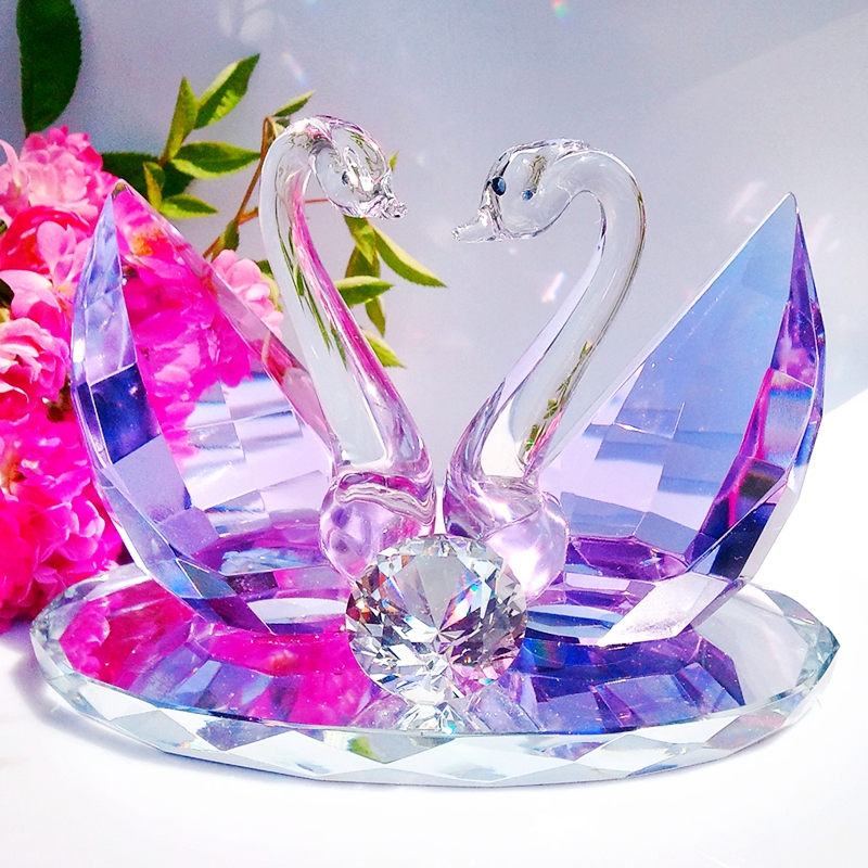 可迪 时尚结婚礼物 婚庆礼品 创意家居装饰 新婚房摆件 水晶天鹅