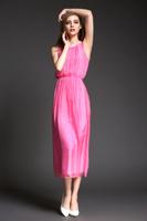 欧洲站2015夏季新款女装欧美大牌范糖果色简约时尚真丝长裙连衣裙