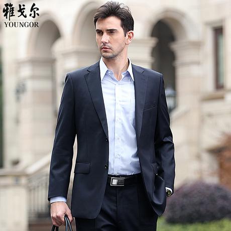 雅戈尔新款正品男士西服套装男商务休闲正装春款羊毛结婚西装商品大图