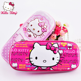 Hello Kitty品牌儿童笔盒文具盒大容量小女孩粉色凯蒂猫EVA笔袋