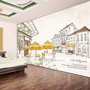 大型壁画墙纸壁纸定制电视背景墙无纺布无缝简约欧式城市建筑插画