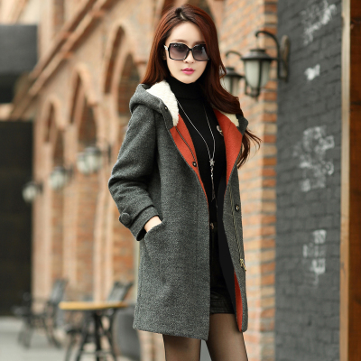 Hooded wool coat women 2014 new autumn and winter women Korean yards thick velvet coat cashmere coat tide female