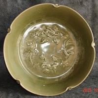 保真包老货农村古董瓷器古玩瓷器越窑青瓷宋代绿釉印花水洗包老