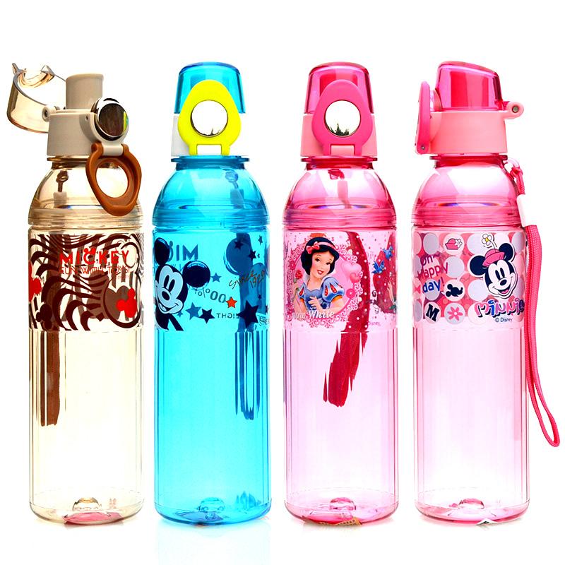 正品迪士尼塑料杯夏季儿童水杯直饮杯运动水壶学生卡通随手杯提绳