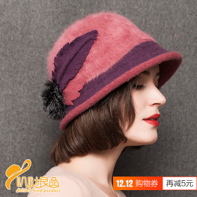 Library Yin angora rabbit fur hat small ball big pots Yip winter fashion warm hat fashion hats