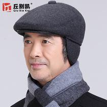 帽子男冬天中老年人加厚爸爸帽老人中年鸭舌帽男士冬季保暖护耳帽