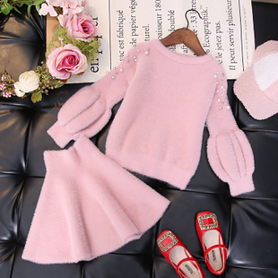 女童秋装套装2018时尚洋气仿貂绒毛衣宝宝针织两件套潮冬