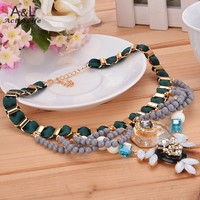 2015 Top Sell Women Accessories Metal Flower Bead Rhinestone