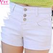 羊侬2016夏装排扣高腰牛仔短裤女装白色弹力大码紧身显瘦休闲热裤