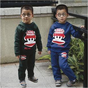 儿童套装男童2014秋冬季中大童男孩运动卫衣大嘴猴套装