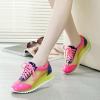 2015夏季新款韩版网纱休闲鞋 学生平底单鞋系带运动糖果色女鞋潮