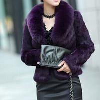 新款狐狸毛领兔皮整皮外套兔毛女士秋冬季特价皮草外套