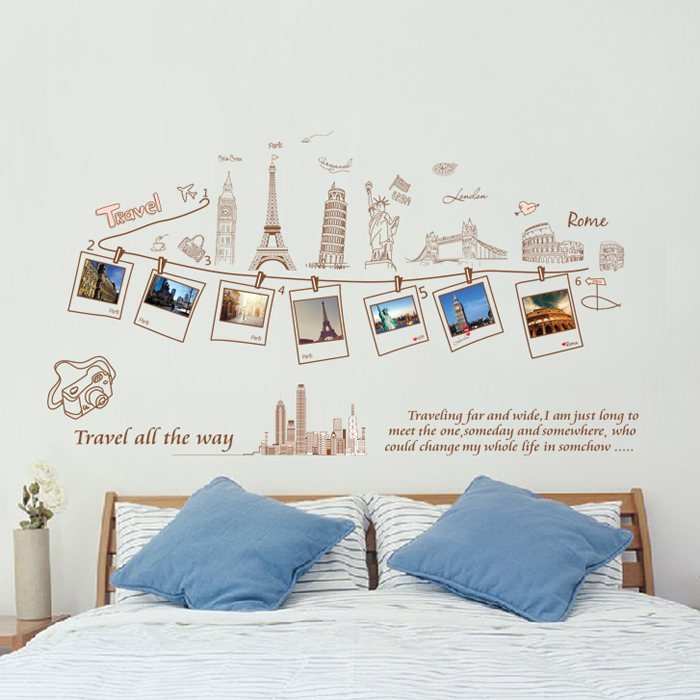 Removable Wall Stickers Travel Europe Tour Photo Stickers Photo