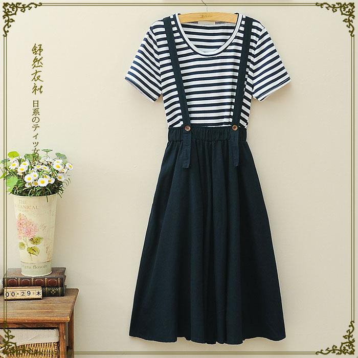 日系森女系两件套背带裙条纹短袖T恤2015夏装新款中长款连衣裙