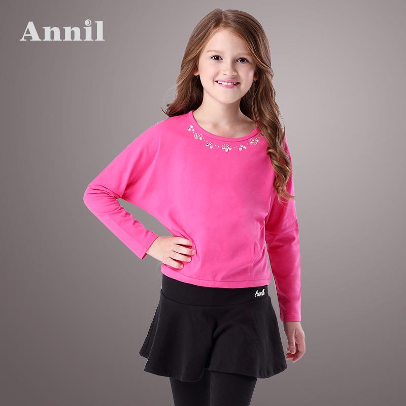安奈儿童装女童针织上衣15秋新款圆领纯色棉长袖儿童T恤EG531030