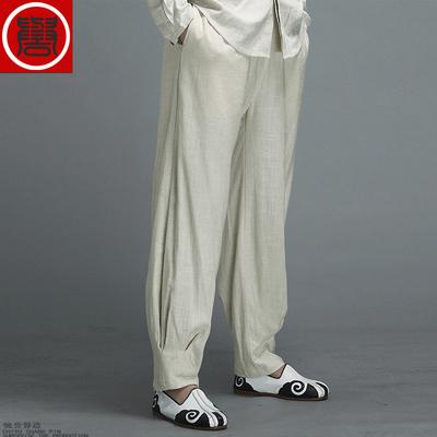 中国风休闲亚麻练功裤男中式太极裤纯色透气休闲裤宽松男士功夫裤