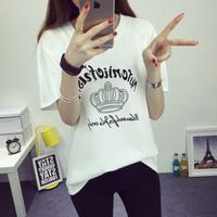 2016夏季新款女装纯棉体恤打底衫学生短袖t恤女 韩版宽松大码上衣