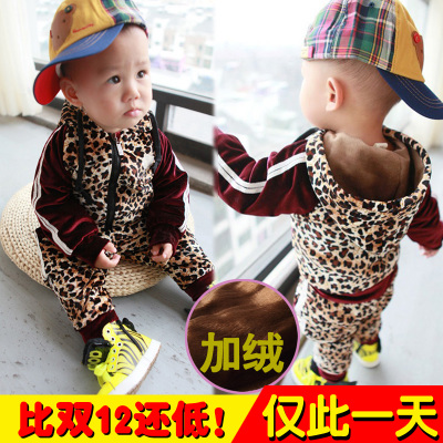 Broken code clearance Kids winter suit 0-1-2-3-4-year-old boy Bao Korean leopard two-piece velvet