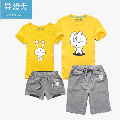 Iso-to-day 2014 summer new short-sleeved t-shirt lovers beach fashion cartoon couples suite seaside tide