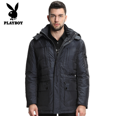 Playboy middle-aged men in the long section thick down jacket men large size men's genuine father installed 028060