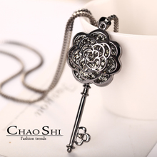 Package mail Small sweet wind long chain sweater fashion female euramerican camellia keys Han edition joker vintage accessories