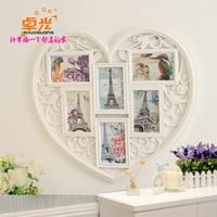 卓光 6框组合连体挂墙相框创意6寸爱心照片墙情侣相架礼品批发