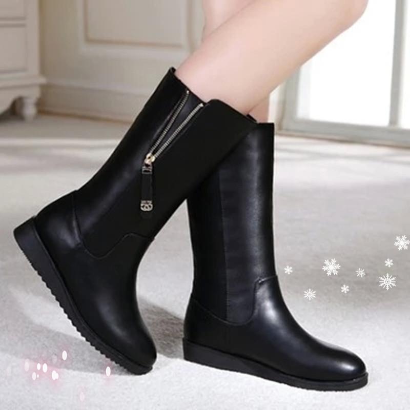 2015秋冬季新款女靴真皮平底短靴中筒靴雪地靴单棉靴骑士靴裸靴子