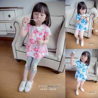 女童连衣裙套装小童夏装2015新款纯棉花朵短袖连衣裙子女童裙套装