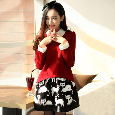 2014 autumn and winter bottoming leave two long-sleeved dress Korean version of the new big yards thick woolen dress lapel female