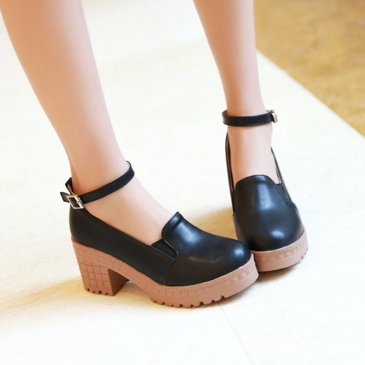 Ladies Round toe ankle square heel shoes