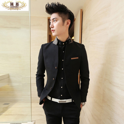 2014 autumn and winter men's top base thickened Korean men's fashion collar small suit Slim woolen suit jacket