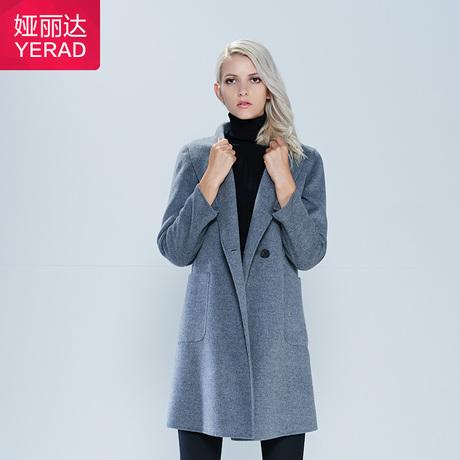 娅丽达女装2015新品毛呢大衣女秋冬大气优雅大翻领长袖外套Q7551商品大图