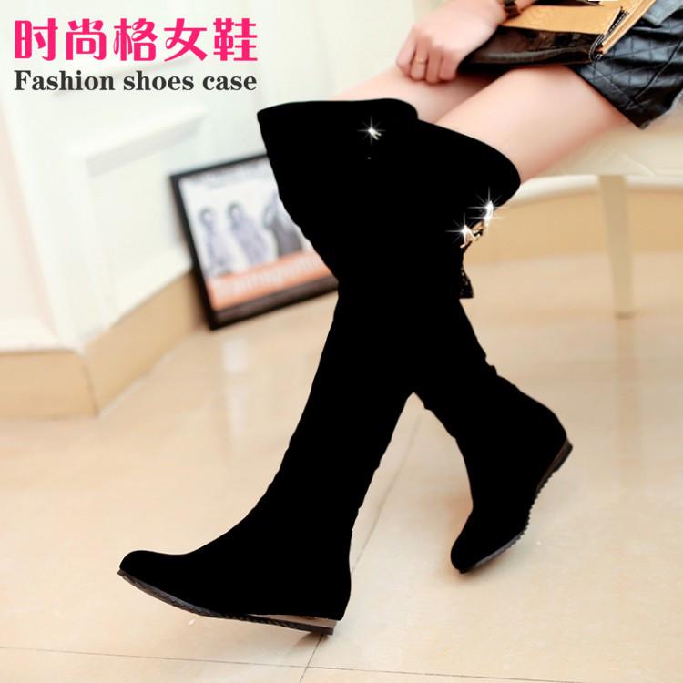 秋冬新款女靴子过膝长靴金属中跟磨砂高筒靴内增高长筒靴骑士靴女