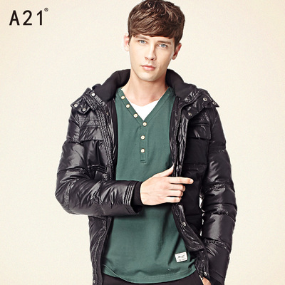 a21 Men's Down Jacket men warm down jacket short paragraph tide fashion removable cap
