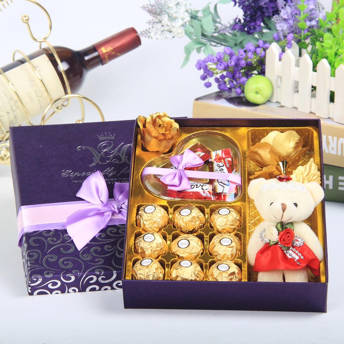 费列罗德芙巧克力礼盒装diy创意元旦新年生日礼物品送男女朋友