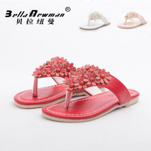 In the summer Girls' bathroom slippers Children one word is cool procrastinate Flowers single shoes Wear sandals