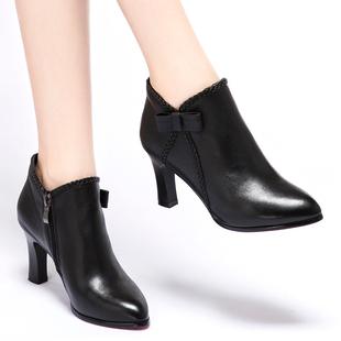 2018秋冬单靴高跟单鞋尖头细跟靴子真皮舒适及踝靴棉女短靴
