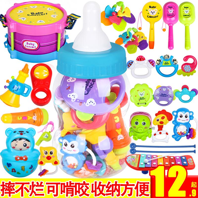 婴儿玩具 0-1岁新生儿宝宝牙胶摇铃0-3-6-12个月婴幼儿益智手摇铃
