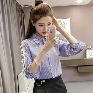 2017秋季上衣女显瘦拼接蕾丝七分袖袖翻领条纹衬衫潮