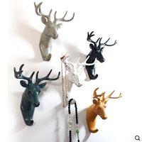 包邮欧式创意家居鹿头墙壁装饰挂钩卧室门后衣帽钩单个复古动物